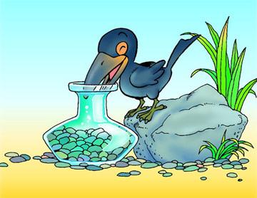 鸦喝水故事图片简笔画-乌鸦喝水 故事被指骗人 实验显示网文说法不