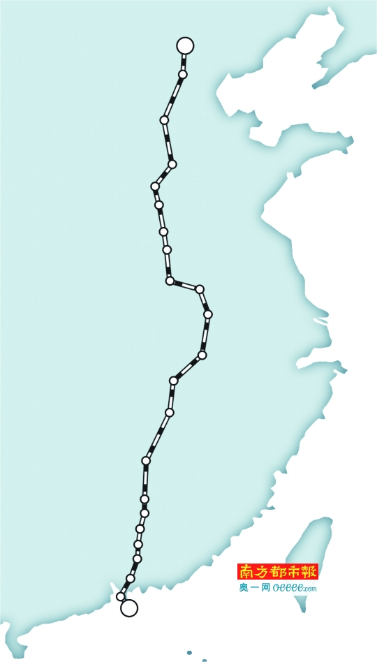 京九高铁规划图-京九高铁走向确定 深圳7小时通北京 不经广州 图