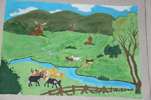 党的十九大绘画作品-海晏县青少年活动中心举办 感党恩 爱家乡 绘画作