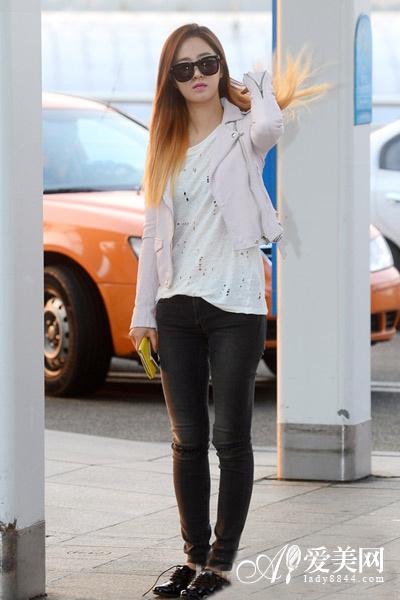 少女时代街拍示范 外套 牛仔裤显瘦混搭